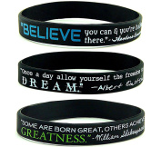 """""""BELIEVE, DREAM, & GREATNESS"""" Inspirational Quote Silicone Bracelets, BULK 10-PACK - Black Silicone Rubber Wristbands w/ Famous Motivational Sayings"""