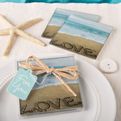 20 Beach Love Themed Set of 2 Glass Coasters From Fashioncraft