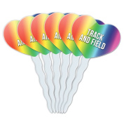 Rainbow Heart Love Set of 6 Cupcake Picks Toppers Decoration I Love Heart Sports Hobbies St-Tu - Track and Field