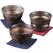 KamaKama Japanese Cup x3pcs set Porcelain/Size(cm) A , dia.10x6.5 , B , dia.10x7.1 , C , dia.10.3x7.1/ka037080