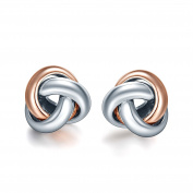 SILVERAGE Rose Gold Plated Sterling Silver Two-Tone Love Knot Stud Earrings