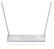 Silver Bar Necklace .925 Sterling Silver Nameplate Simple Horizontal Pendant 41cm - 46cm