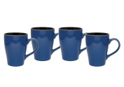Culver 470ml Sherwood Ceramic Mug, Blue, Set of 4