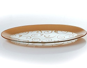 GAC Tempered Glass Oval Platter Serving Tray and Decorative Plate Unbreakable - Chip Resistant - Oven Proof - Microwave Safe - Dishwasher Safe - Stackable