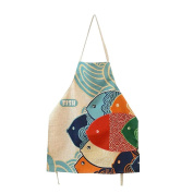 FSK Lovely Cartoon Pattern Apron Cotton Canvas Women Apron Chef Kitchen Cooking Apron Bib