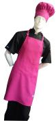 2X Big & Tall Chefskin Hot Pink Fuchsia Adult Chef Set (Apron+hat) Adjustable, Ultra Lite Fabric