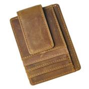 Le'aokuu Genuine Leather Magnet Money Clip Front Pocket Slim Wallet Card Case
