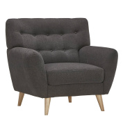 Mid Century Modern Curved Tufted Upholstered Accent Club Arm Chair with Tapered Wood Legs - Includes Modhaus Living Pen