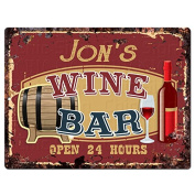 JON'S WINE BAR Tin Chic Sign Rustic Vintage style Retro Kitchen Bar Pub Coffee Shop Decor 23cm x 30cm Metal Plate Sign Home Store man cave Decor Gift Ideas