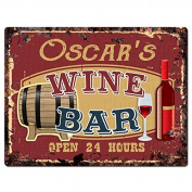 OSCAR'S WINE BAR Tin Chic Sign Rustic Vintage style Retro Kitchen Bar Pub Coffee Shop Decor 23cm x 30cm Metal Plate Sign Home Store man cave Decor Gift Ideas