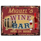 MIGUEL'S WINE BAR Tin Chic Sign Rustic Vintage style Retro Kitchen Bar Pub Coffee Shop Decor 23cm x 30cm Metal Plate Sign Home Store man cave Decor Gift Ideas