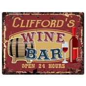 CLIFFORD'S WINE BAR Tin Chic Sign Rustic Vintage style Retro Kitchen Bar Pub Coffee Shop Decor 23cm x 30cm Metal Plate Sign Home Store man cave Decor Gift Ideas