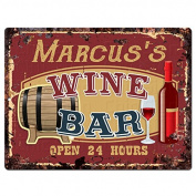 MARCUS'S WINE BAR Tin Chic Sign Rustic Vintage style Retro Kitchen Bar Pub Coffee Shop Decor 23cm x 30cm Metal Plate Sign Home Store man cave Decor Gift Ideas