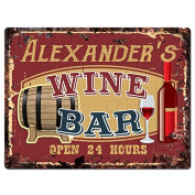 ALEXANDER'S WINE BAR Tin Chic Sign Rustic Vintage style Retro Kitchen Bar Pub Coffee Shop Decor 23cm x 30cm Metal Plate Sign Home Store man cave Decor Gift Ideas