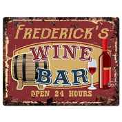 FREDERICK'S WINE BAR Tin Chic Sign Rustic Vintage style Retro Kitchen Bar Pub Coffee Shop Decor 23cm x 30cm Metal Plate Sign Home Store man cave Decor Gift Ideas