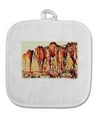 TooLoud CO Mountain Spires Watercolour White Fabric Pot Holder Hot Pad