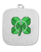 TooLoud Pixel Four Leaf Clover White Fabric Pot Holder Hot Pad