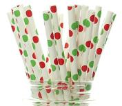 Christmas Polka Dot Straws, Red & Green Holiday Light Straws (25 Pack) - Holiday Supplies, Christmas Party Decorations