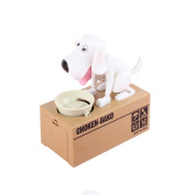 Just us Choken Bako Dog Bank Robotic Coin Munching Toy Money Box White