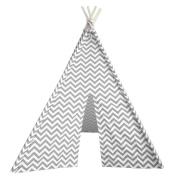 Modern Home Children's Oxford Tepee Set with Travel Case - Grey Chevron