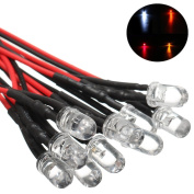 Bazaar 10pcs 5mm Pre-Wired Constant LED Ultra Bright Transparent Clear Bulb DC24V