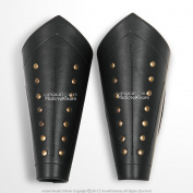 Mediaeval Gears Brand Pair Genuine Leather Arm Bracer with Brass Studs LARP Mediaeval Costume Cosplay