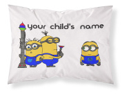 Customizable, Minions Themed Pillowcase, Featuring 3 Adorabke Minions From Despicable Me! Personalised With Your Child's Name - Perfect Gift For Boys Of All Ages!