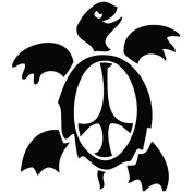 Sea Turtle Peace Sign - Animal Decal [12cm Black] Vinyl Sticker for Car, Ipad, Laptop, Helmet