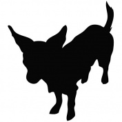 Dog Chihuahua Stand - Animal Decal [12cm Black] Vinyl Sticker for Car, Ipad, Laptop, Helmet