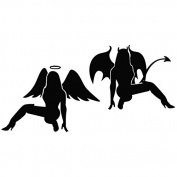 Girls Angel Versus Devil - Tribal Decal [12cm Black] Vinyl Sticker for Car, Ipad, Laptop, Helmet