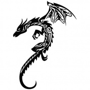 Dragon Golden Metal - Tribal Decal [12cm Black] Vinyl Sticker for Car, Ipad, Laptop, Helmet