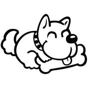 Dog Love Bone - Cartoon Decal [12cm Black] Vinyl Sticker for Car, Ipad, Laptop, Helmet