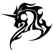 Unicorn Flame - Tribal Decal [12cm Black] Vinyl Sticker for Car, Ipad, Laptop, Helmet