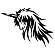 Unicorn Handsome - Tribal Decal [12cm Black] Vinyl Sticker for Car, Ipad, Laptop, Helmet