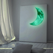 AutumnFall 3D Luminous Large Moon Fluorescent Wall Sticker Removable Glow In The Dark Sticker