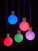 Fantado 7.6cm Frosted LED Multi-Colour Changing Remote Control Christmas Ornament Ball Light (Battery Operated, 5 PACK) by PaperLanternStore