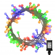 12m 100 LEDs Indoor Colourful Globe String Lights with Remote and Low Voltage Plug (6 Modes, Dimmable, Timer) RGB Multicolor