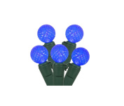 """Set of 50 Blue LED G12 Berry Christmas Lights 4"""" Bulb Spacing - Green Wire"""