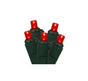 Set of 50 Red LED Wide Angle Christmas Lights 10cm Bulb Spacing - Green Wire