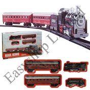 LADO RAIL KING CLASSIC TOY LARGE TRAIN SET TRACK CARRIAGES LIGHT & SOUND ENGINE BOXED BOYS KIDS BATTERY CHRISTMAS HOLIDAY EXPRESS TRAIN (SI-TY1088) by Lado