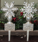 Resin Glittered Snowflake Stocking Holders, 2 Assorted