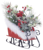 Faux Snowy Sleigh with Red Cardinal and Nest