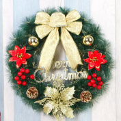 LingStar Christmas Wreath Hanging Door Wall Window Decoration Wreath Holiday Festival Home Decor, Style 3 Golden Bow
