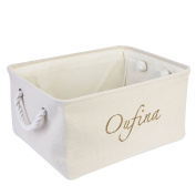 Foldable Home Shelf Baskets Clothes Organiser Burlap Fabric Bin with Handles