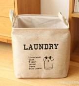Foldable Home Shelf Baskets Clothes Organiser Burlap Fabric Bin with Handle