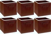 SimpleHouseware Foldable Cube Storage Bin, Brown - 6 Pack
