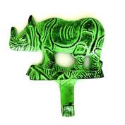 Rhino Wall Hook in Green Distressed Finish