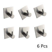 6 Pack 3M Self Adhesive Bathroom Hooks, Single Stainless Steel Towel Robe Clothes Hooks, Contemporary Style, Brushed Finish