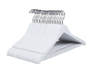 Amber Home Gugertree Solid Wood Coat Hangers Suit Hangers White Finished with Non-slip Bar 20 Pack