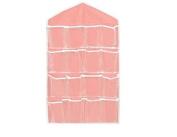 Nice 16 Pockets Clear Over Door Hanging Bag Shoe Rack Hanger Storage Organiser - Pink